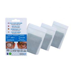 Lot de 3 Essuie-verres Anti-Buée VARIONET 15x18cm Efficace 12h et 300 utilisations – chiffon microfibre chamoisine